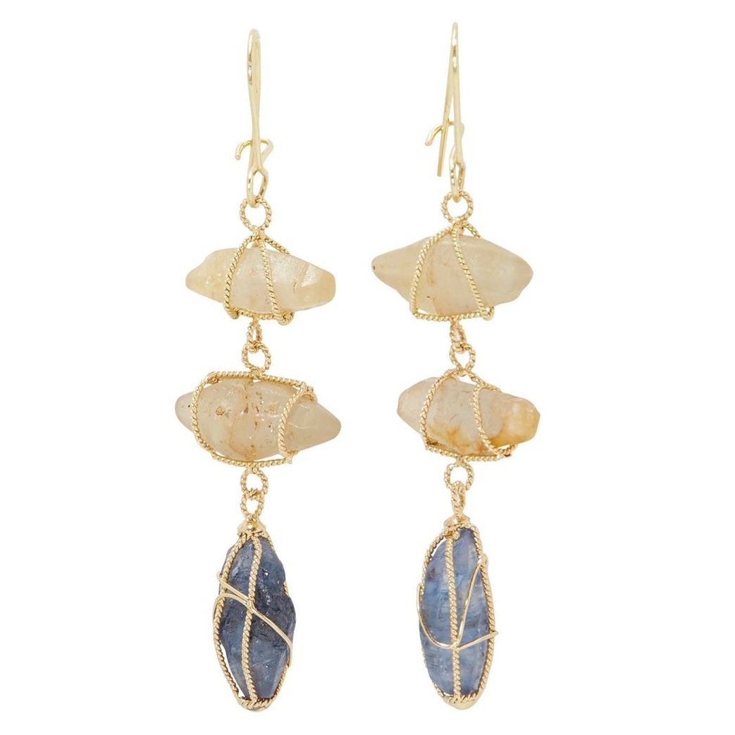 earrings rough sapphire