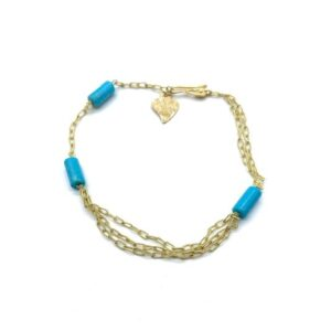 gold and 3 turquoises bracelet