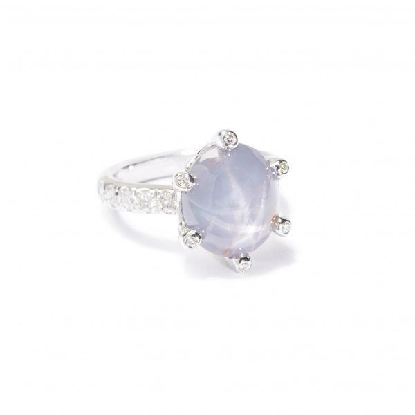 star sapphire whit diamonds ring