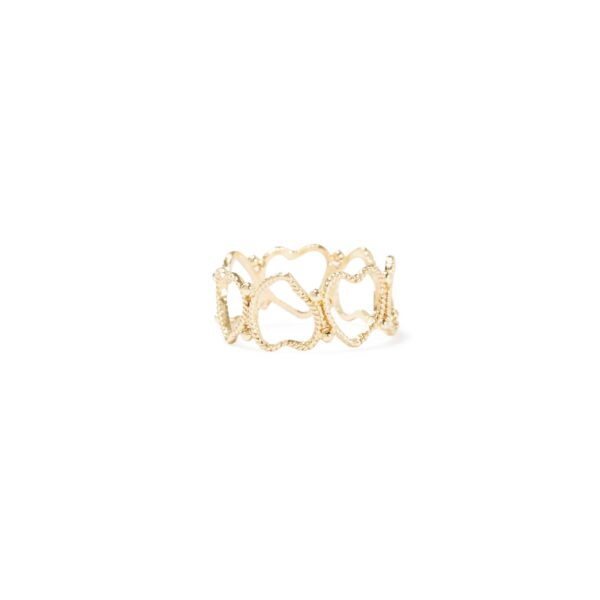 Ring: hearts in handmade gold filigree ring whit hearts