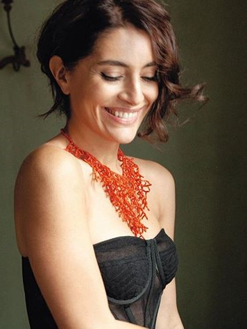Caterina Murino with coral necklace