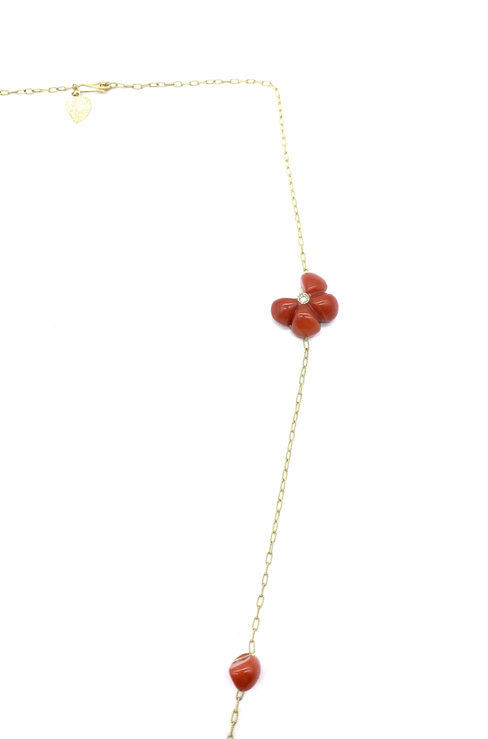 Chain with coral butterfly and 1 diamond